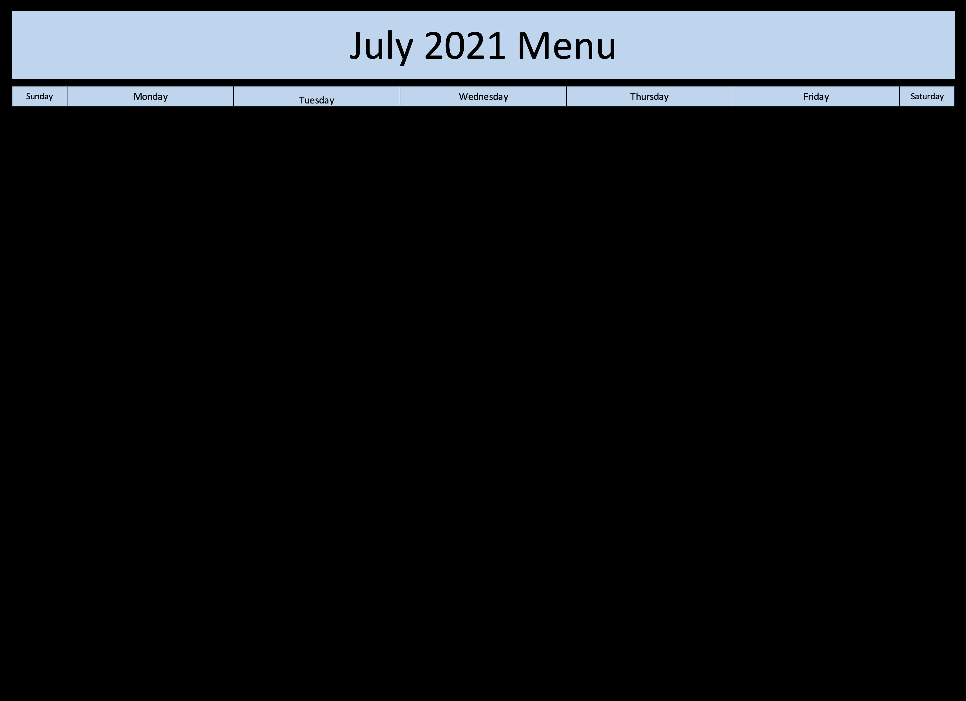 July Menu